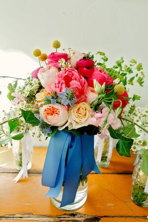Blue Ribbon-Wrapped Pink Rose and Peony Bouquet
