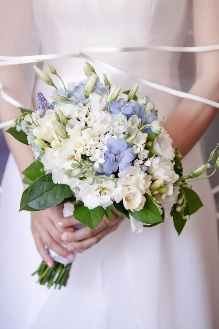 White and Periwinkle Blue Bouquet