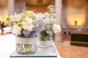 Country-Inspired Periwinkle Blue, White and Yellow Floral Centerpieces