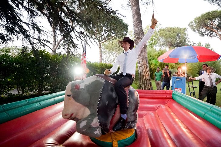 The couple surprised their guests with a mechanical bull!