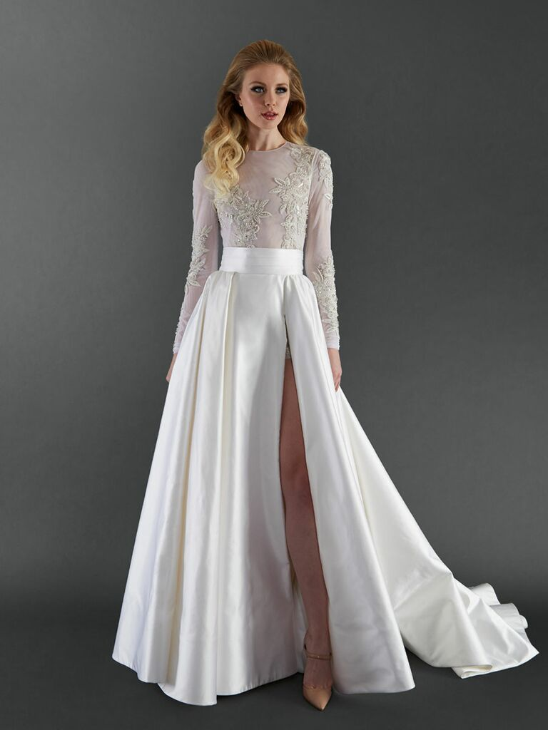 Randi Rahm Fall 2017 Long Sleeve Beaded Two Piece Wedding Dress With Detachable Satin Skirt