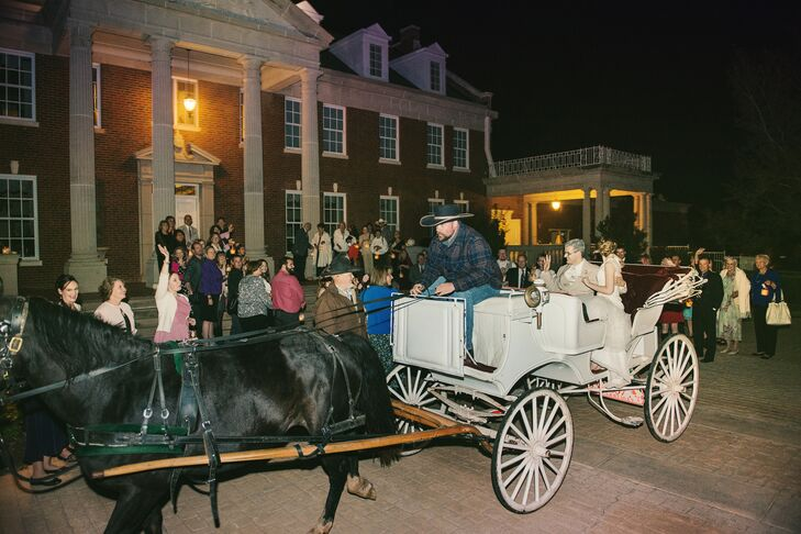 "At the end of the night, Chelsea and Jeffrey's guests held lanterns (also their wedding favors) as they made their horse-and-carriage exit. ""We cannot count how many people told us that our wedding was like a fairy tale,"" Chelsea says. ""We couldn't have dreamed up a more beautiful wedding."""