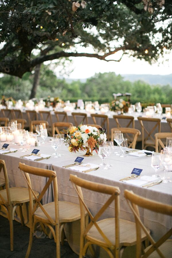 Outdoor Reception Under Trees with Cross-Back Chairs
