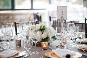 White Hydrangea, Blush Rose, Green Pine Wedding Centerpieces