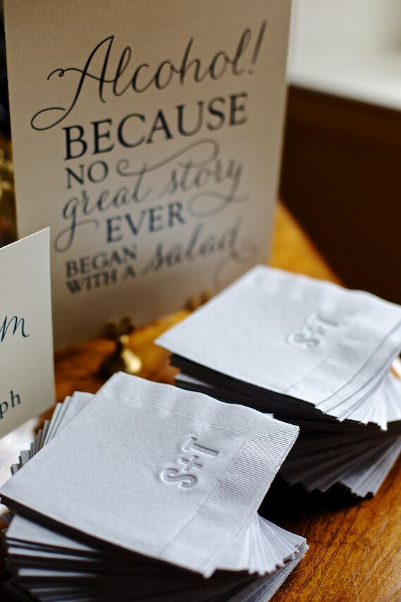 Personalized Gray Cocktail Napkins
