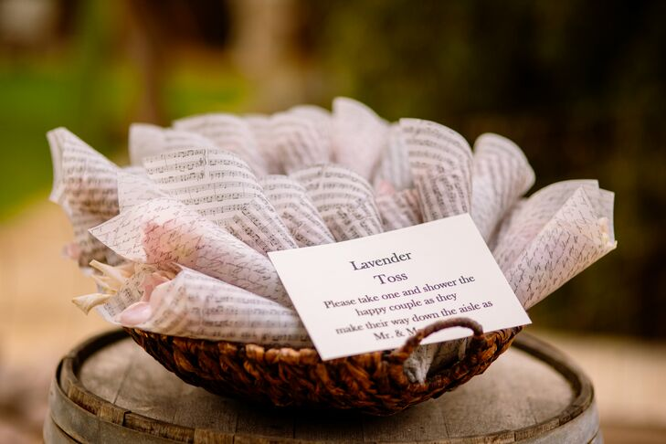 """At the ceremony, the couple had a lavender toss with music notes when being announced husband and wife. """"It was a perfectly biodegradable, smelly-good favor!"""" says the bride. """"Jairo is a musician and wanted some type of music to be shown to reflect who he is."""""""