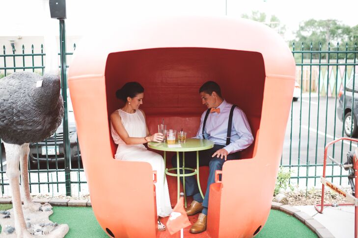 While guests enjoyed beer and cheese pairing during the post ceremony cocktail hour, the newlyweds snuck away for private drinks and a ferris wheel ride at Betty Danger's Country Club.