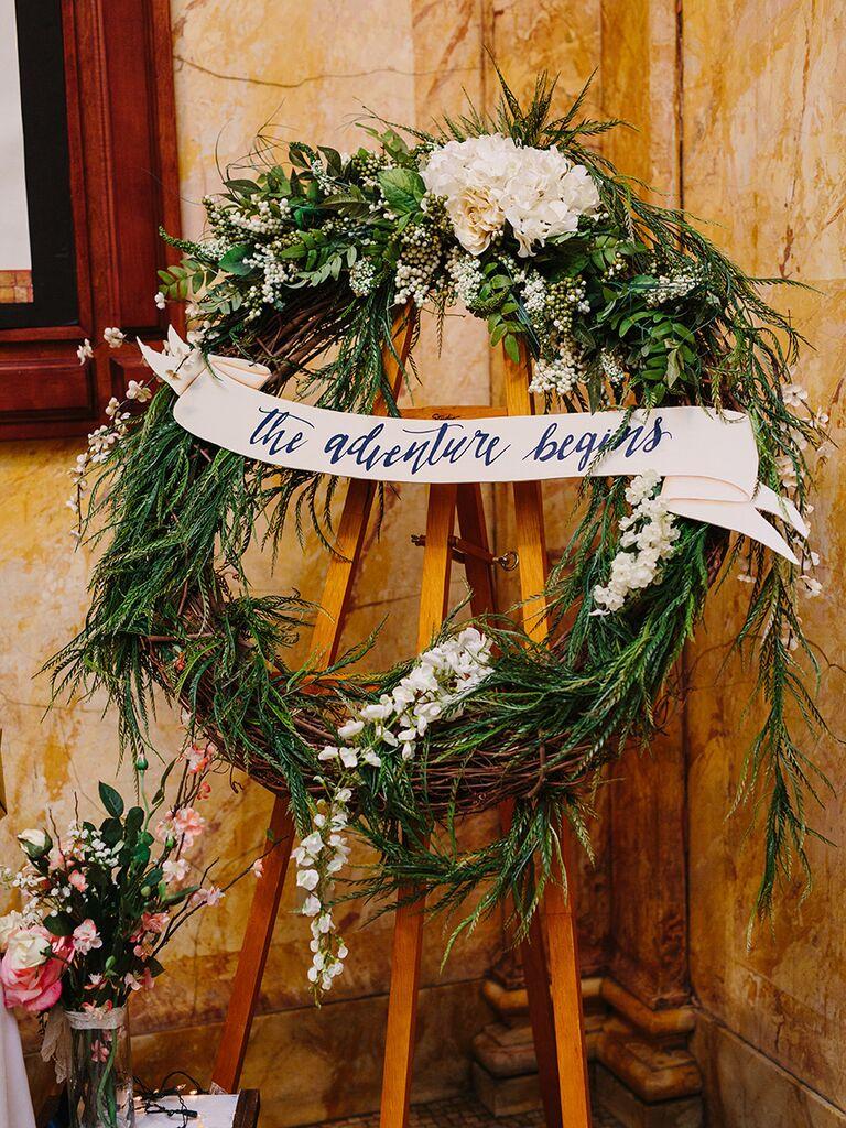Elegant wedding wreath with wisteria