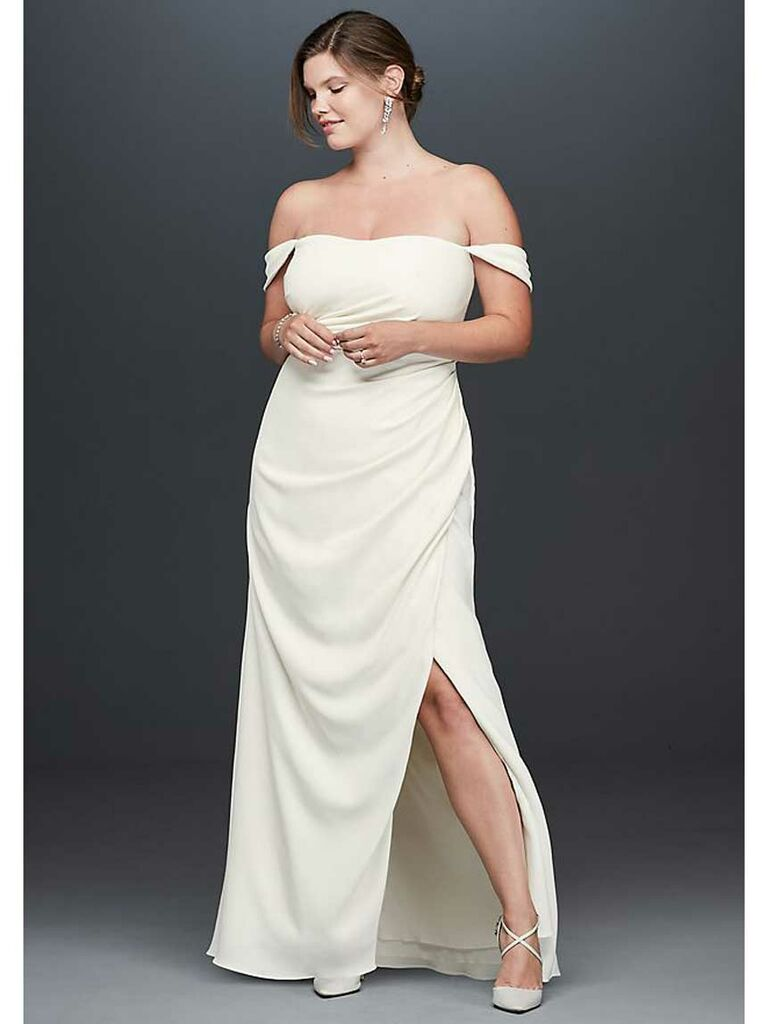 Off-the-shoulder simple plus-size wedding dress with high slit