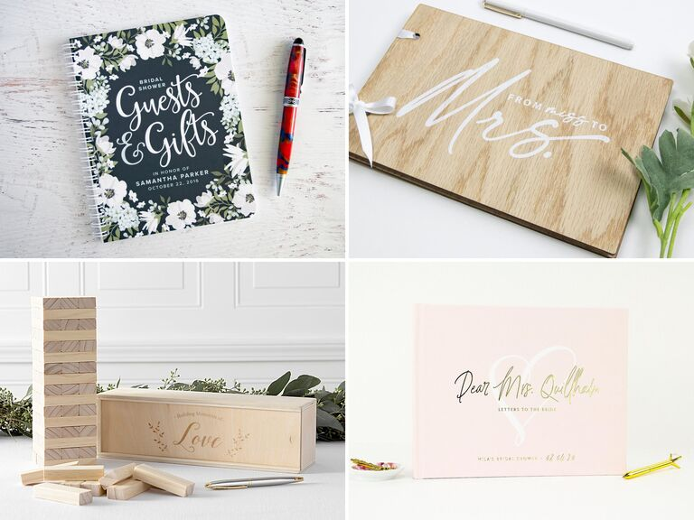 Collage of four weding shower guest books