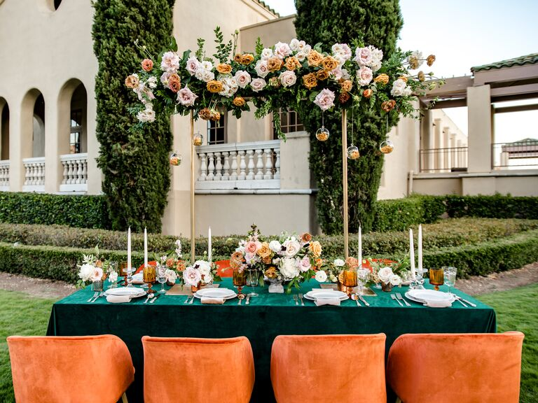 weekday wedding outdoors rose arch