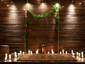 Romantic Candlelit Wooden Backdrop