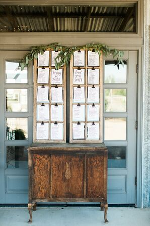 Rustic Seating Chart Display on Vintage Table