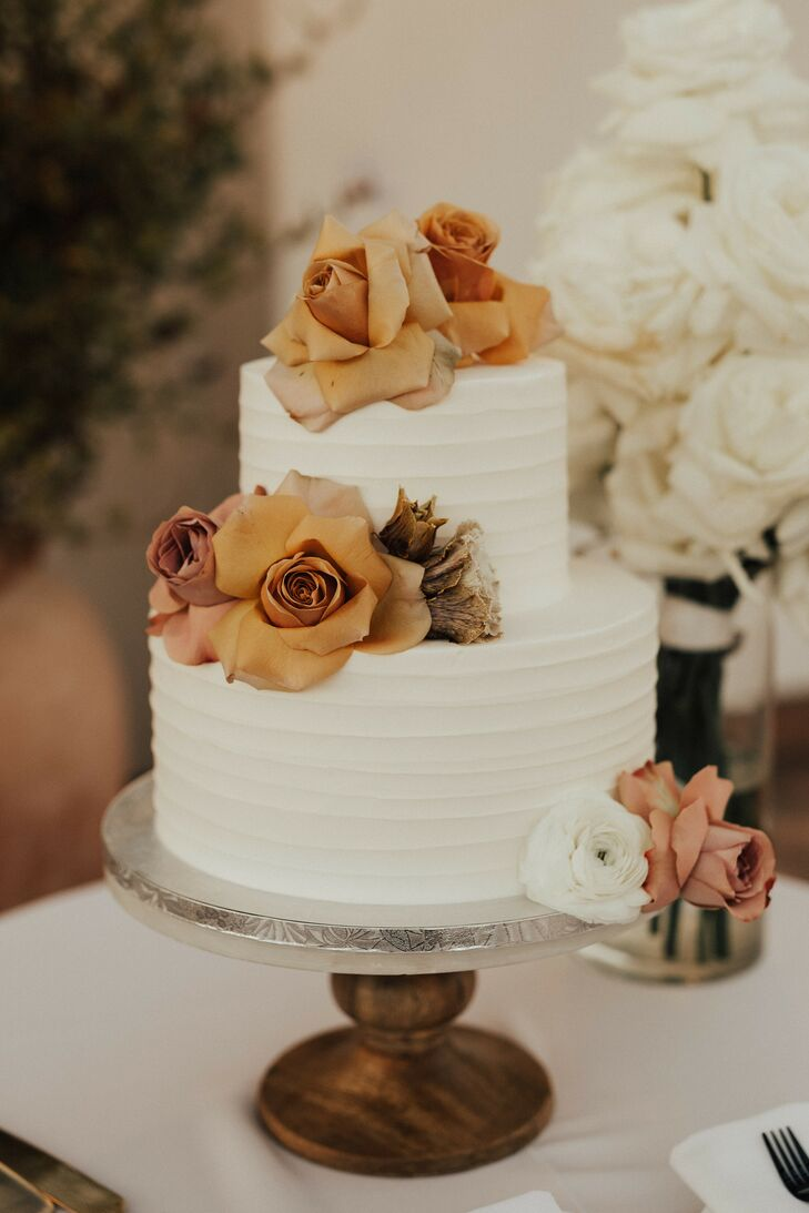 Two-Tier Cake with Orange Roses for Wedding in Santa Barbara, California