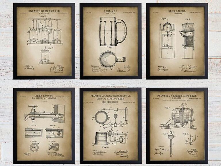 beer making patent prints unique groomsmen gift
