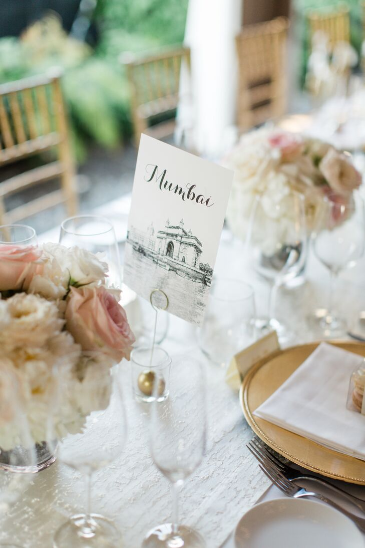 The table names were based on places that were important to Charlene and Sanket and included destinations such as Mumbai, Nairobi, Kuwait, Toronto and New York—the places where they were born and grew up, where they met and the city they now call home.