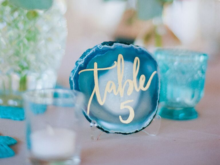 Blue agate wedding table number