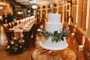 Simple, Rustic Tiered Wedding Cake with Leaves