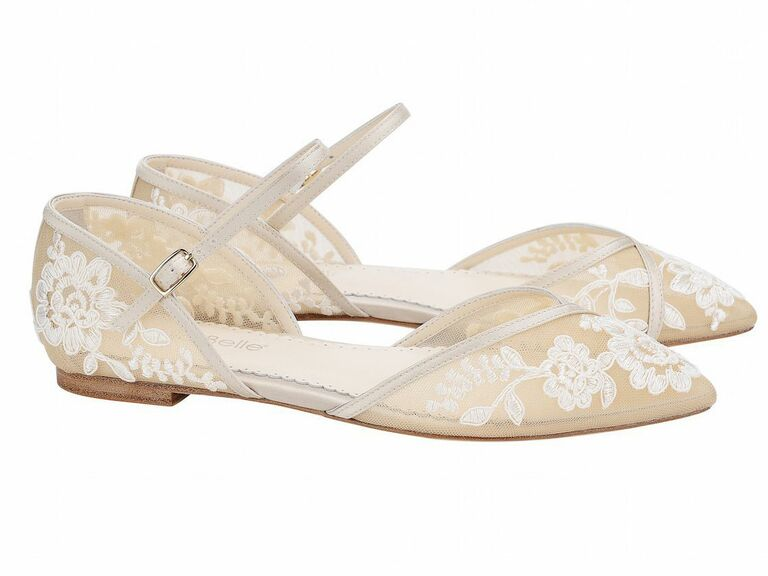 nude embroidered ballet flats