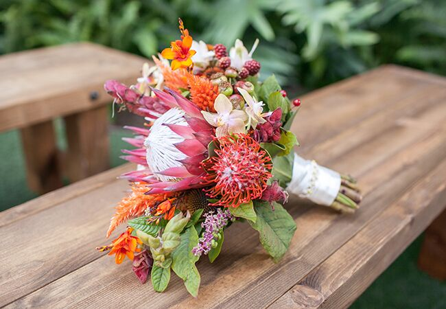 protea bridal bouquet | She Wanders | Blog.theknot.com