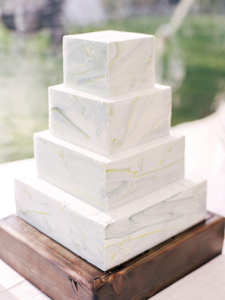 Simple square marble wedding cake