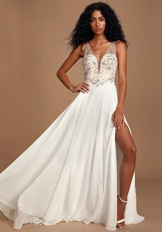 Lulus Forever and Ever White Beaded Lace-Up Maxi Dress A-Line Wedding Dress