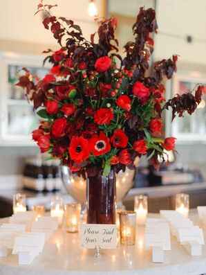 White Escort Cards, Red Flower Centerpiece