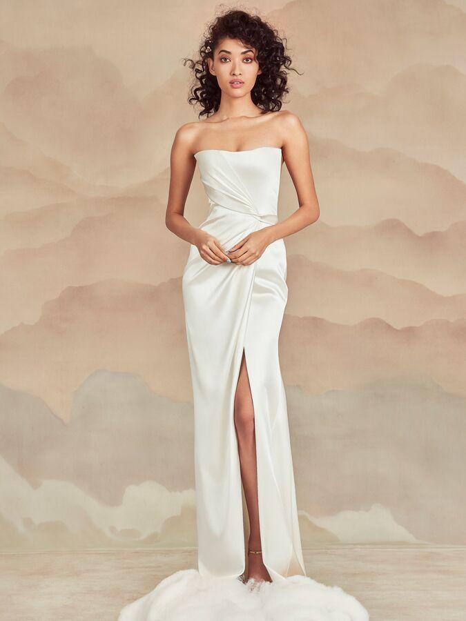 Ines Di Santo strapless draped wedding dress