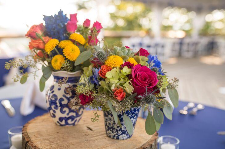 Multicolor Floral Arrangements in Blue and White Vases