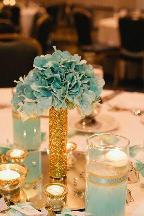 DIY Mint Fabric Flower Reception Centerpieces
