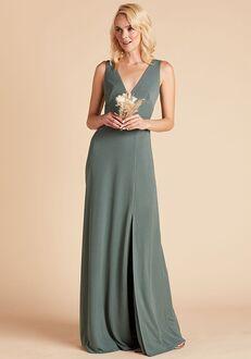 Birdy Grey Shamin Crepe Dress in Sea Glass V-Neck Bridesmaid Dress