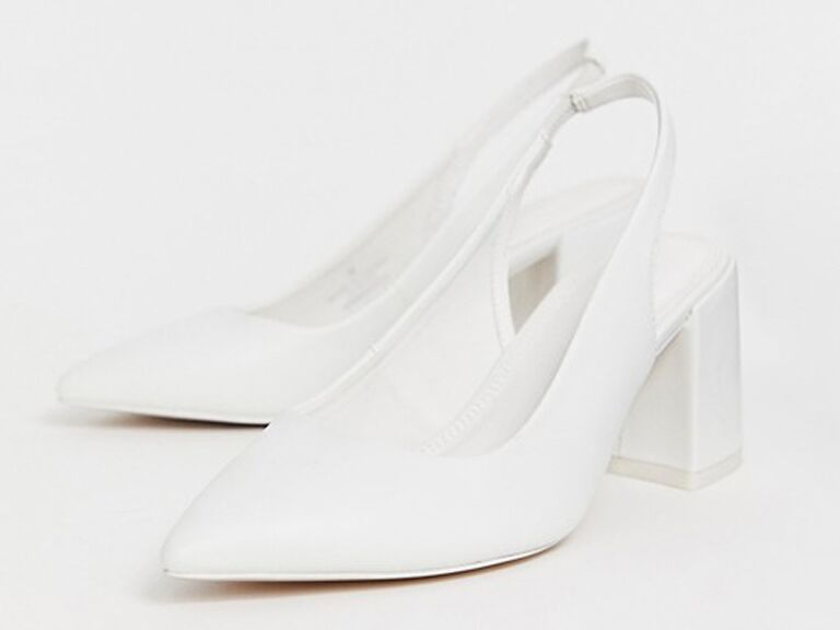 White slingback comfortable wedding heels