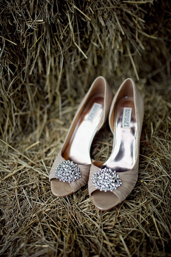 Tan Crystal Embellished Badgley Mischka Peep Toe Pumps