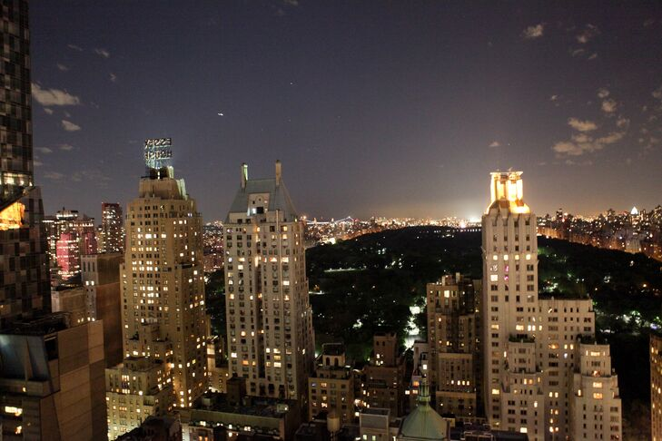 """""""We chose Le Parker Meridien because when we walked in, it was everything we dreamed of and more."""" The big windows provided a full view of Central Park, and the balcony allowed guests to see the New York skyscrapers the couple love."""