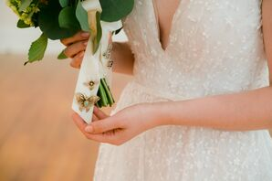 White Bouquet Ribbon with Gold Butterfly Pins