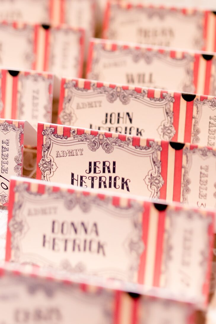 Maggie designed her funky escort cards to look like admission tickets.