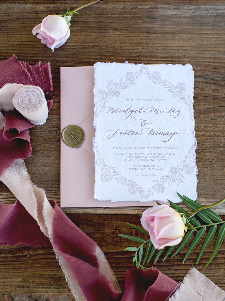 wedding invitation ideas mauve gold deckled edge romantic