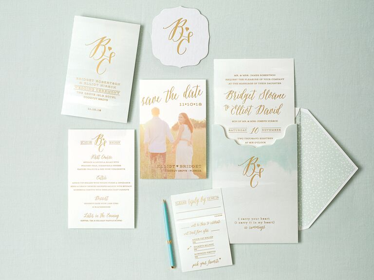 Watercolor and gold foil wedding invitations