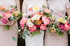Spring-Inspired Pink Bouquets of Peonies and Roses