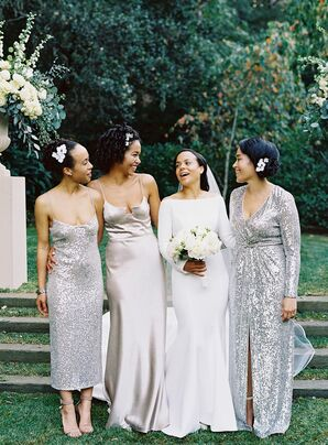 Bridesmaids in Long Silver Dresses for Napa Valley Wedding