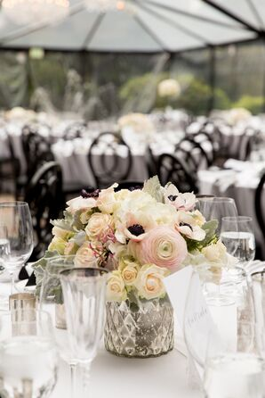 Blush and Cream Centerpieces With Anemones, Peonies and Roses