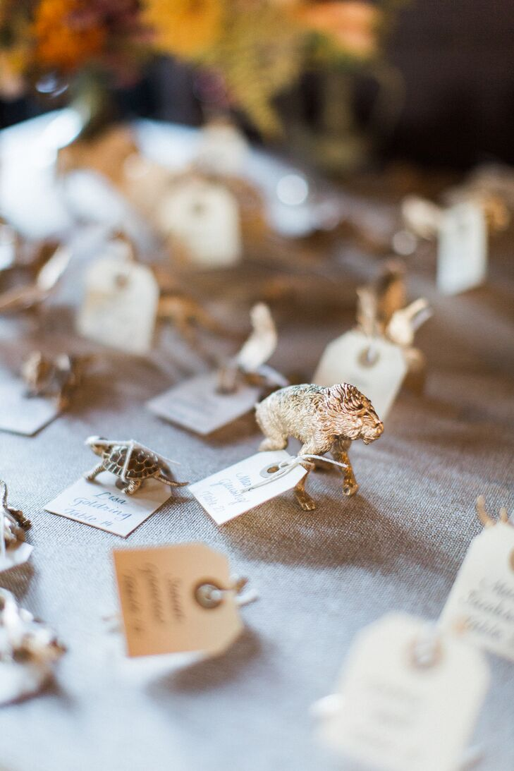 DIY Gold Animal Escort Cards