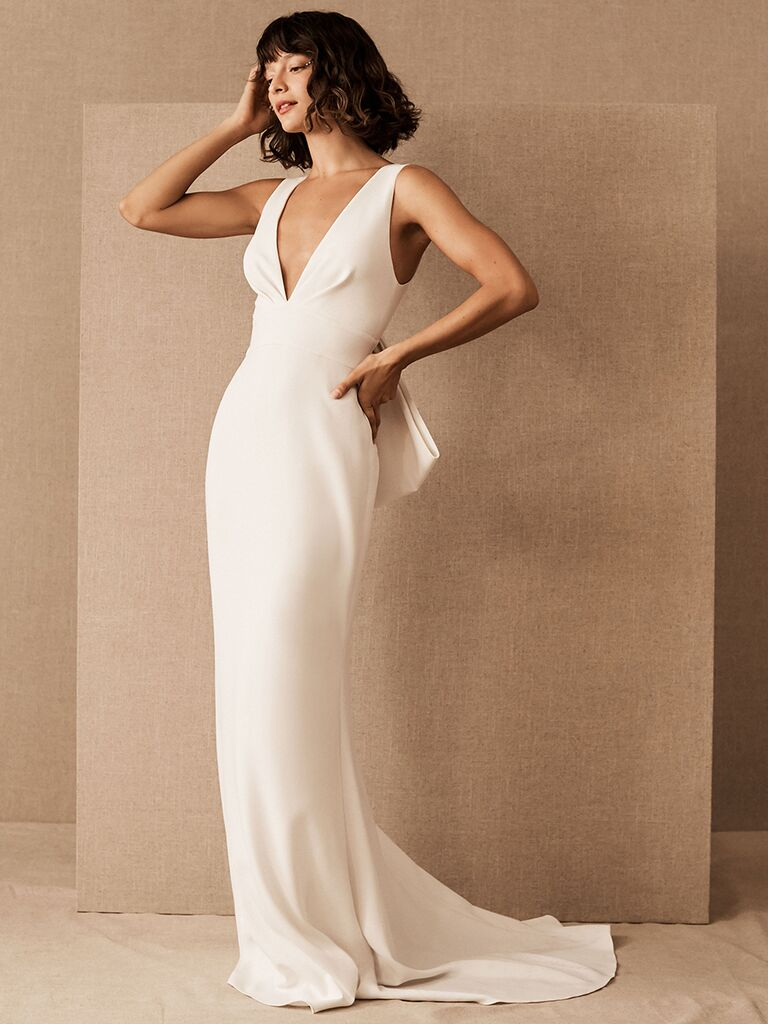BHLDN fitted dress with V-neckline and bow detail