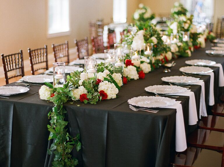 Valentines Day Themed Reception Tablescape
