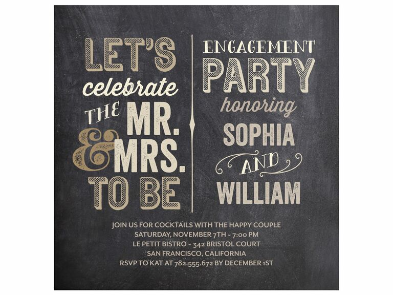 Rustic chalkboard engagement party invitation