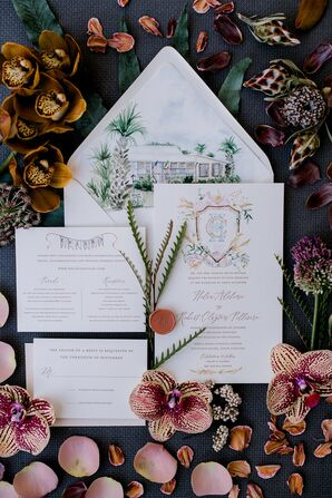 Elegant Invitations with Calligraphy and Watercolor Artwork