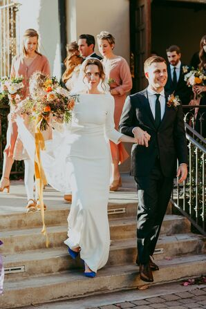 Modern Couple with Simple Sleeved Wedding Dress and Slim Navy Suit
