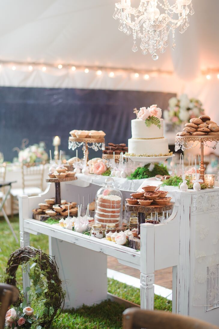 Whimsical White Vintage Piano Dessert Table
