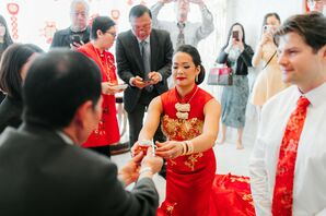 Chinese Tea Ceremony at Wedding at Cherry Hall in Kansas City, Missouri