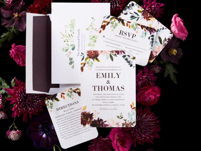 white floral wedding invitation suite from shutterfly